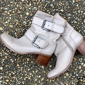 Boutique9 double harness belted ankle heeled boots